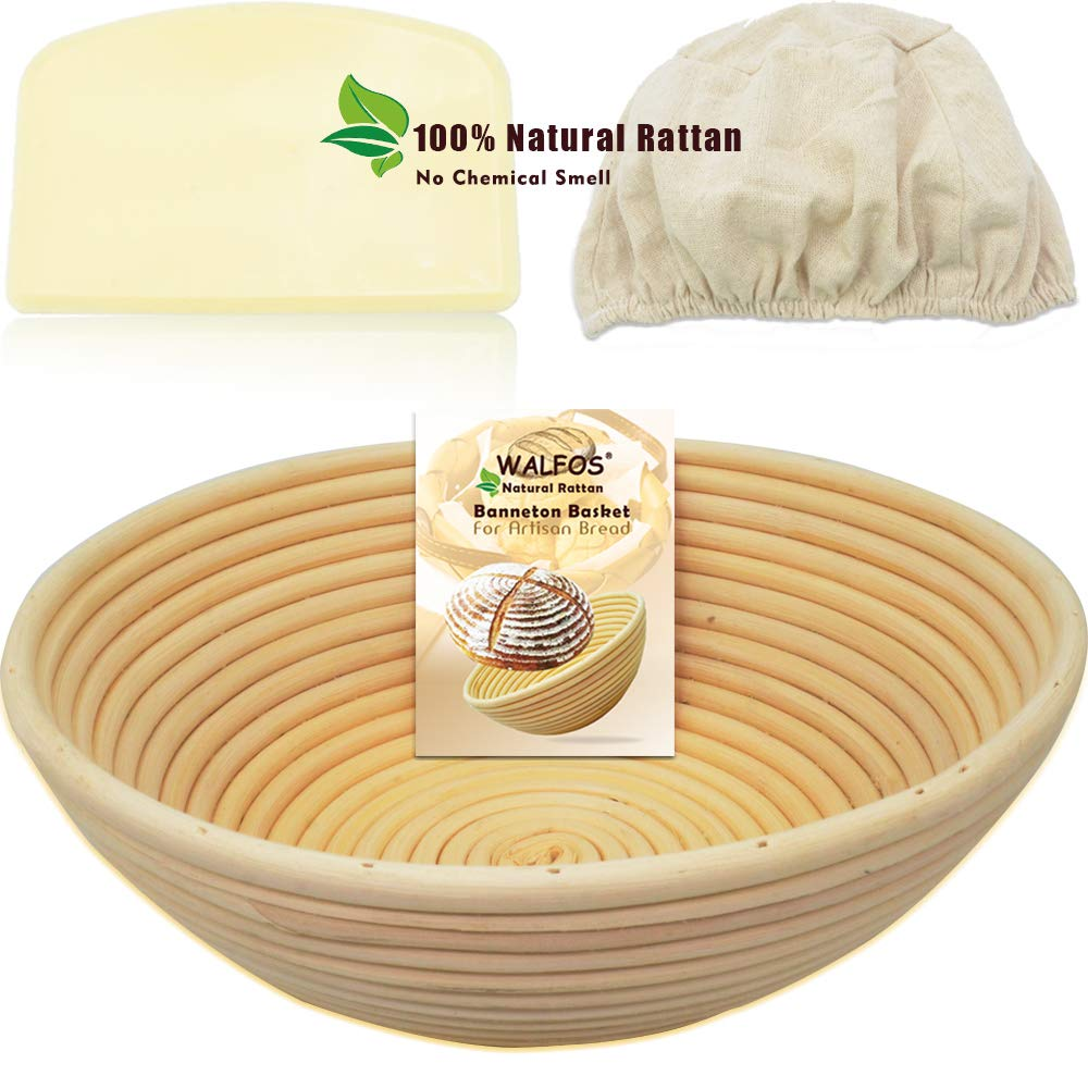 WALFOS 9'' Round Banneton Proofing Basket Set - French Style Artisan Sourdough Bread Bakery Basket,Dough Scraper/Cutter & Brotform Cloth Liner Included - 100% NATURAL RATTAN by Walfos