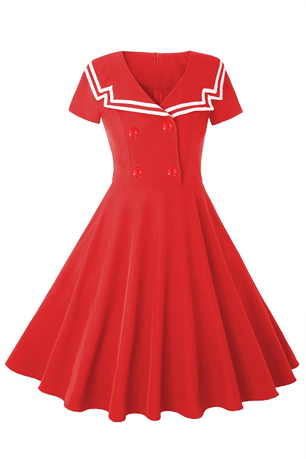 MERRYA Women's Vintage 1950s Sailor Short Sleeve Party Swing Tea Dress