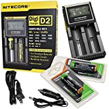 Nitecore D2 Digicharge universal home/in-car battery charger with 2 X Edisonbright EBR34 3400mAh Protected 18650 rechargeable NCR18650B batteries Designed for TM26 TM15 TM11 SRT7 SRT6 P25 EC25 TK75 PD35 PD32 TK22 LD50 LD60 i2 i4 TM06 and other high drain devices