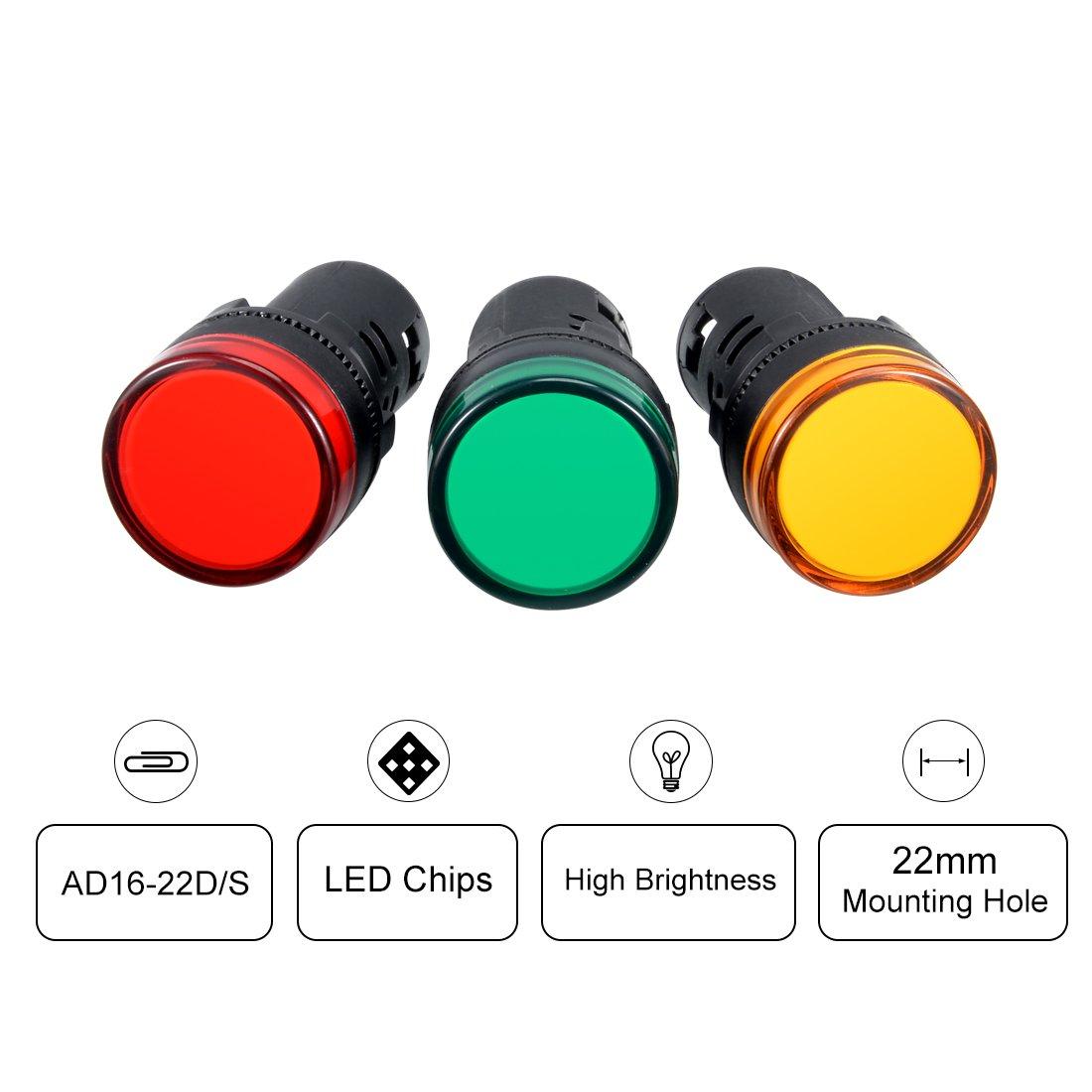 sourcing map Indicator Lights AC//DC 12V 3Pcs Flush Panel Mount 7//8 22mm Green LED