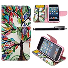 iPod Touch 5 Case, i Touch 6 Case Wallet, iYCK Premium PU Leather Flip Folio Carrying Magnetic Closure Protective Shell Wallet Case Cover for iPod Touch 5/6 with Kickstand Stand - Tree and Leaf