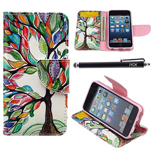 - iPod Touch 5 Case, i Touch 6 Case Wallet, iYCK Premium PU Leather Flip Folio Carrying Magnetic Closure Protective Shell Wallet Case Cover for iPod Touch 5/6 with Kickstand Stand - Tree and Leaf