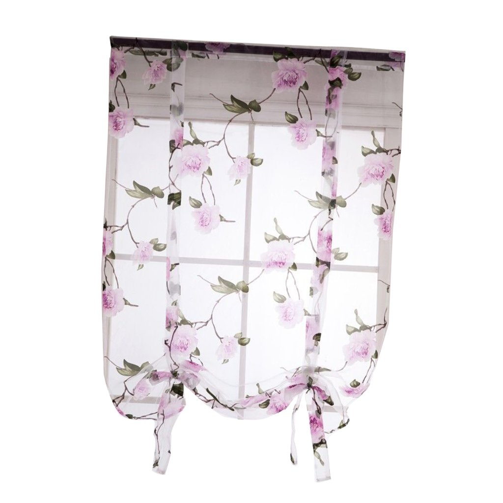 Dolity Beauty Flower Roman Curtain Voile - Tie up Silk Ribbon Shade - Window Valance Drape Blind for Small Window, Kitchen Bedroom with Back Tab/Rod Pocket - Pink, 80x100cm/32x40 inch