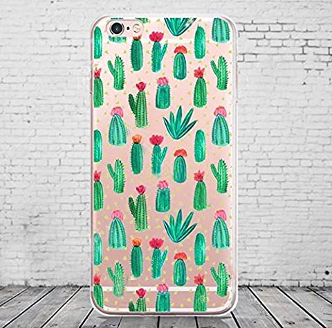 iPhone 7 , Colorful Rubber Flexible Silicone Case Bumper for Apple Clear Cover - Cactus Green Pricky Flower Plant (Rubber Spike Phone Case)