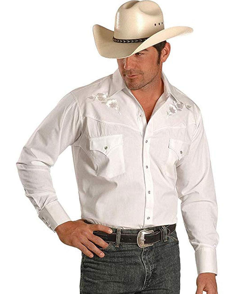 ELY CATTLEMAN Mens Embroidered Rose Design Western Shirt