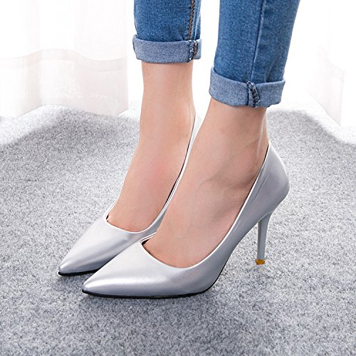 shoes shoes Silver work pointed high thin height Women's and multicolor 85q7agZw