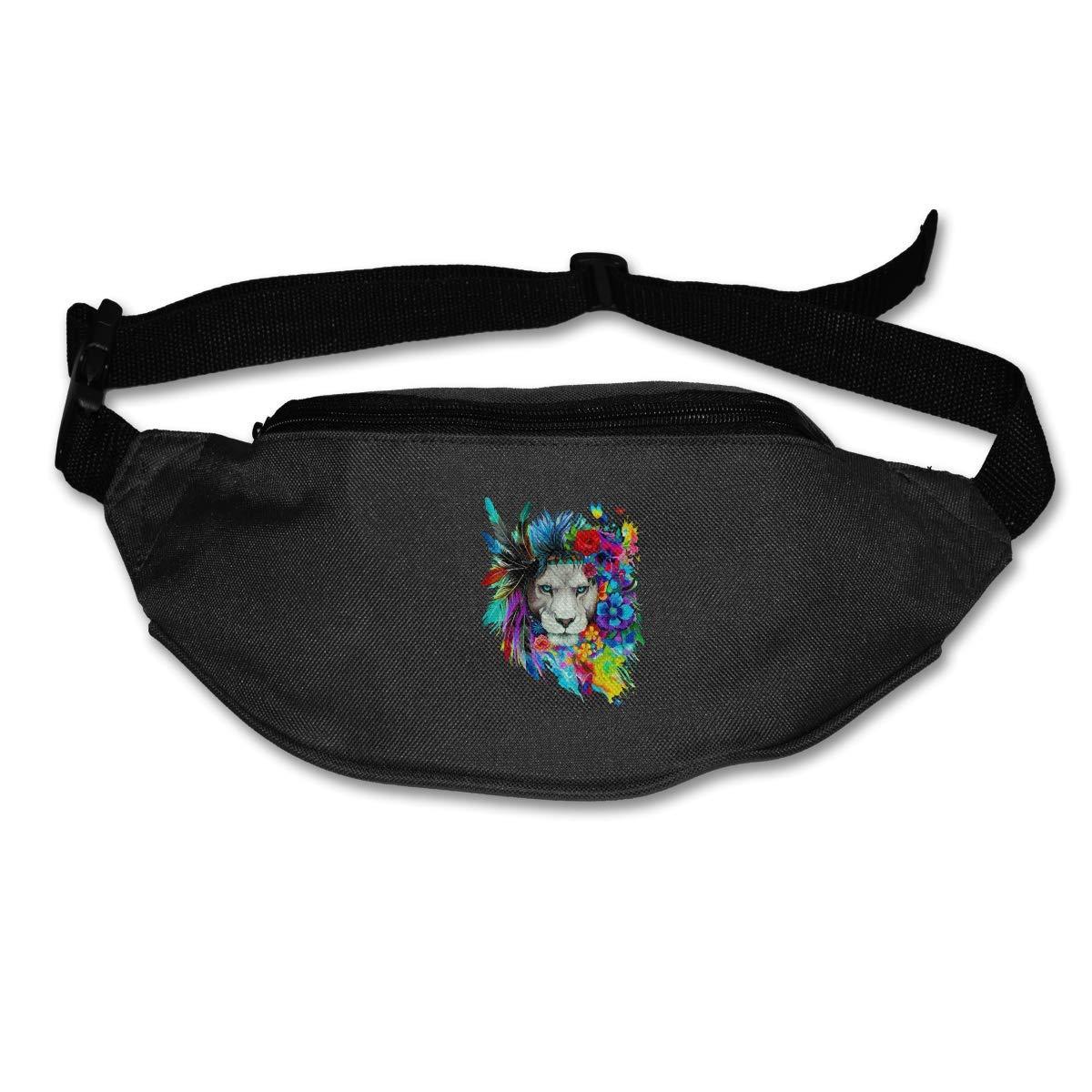 Waist Purse Feather Flower Lions Art Unisex Outdoor Sports Pouch Fitness Runners Waist Bags