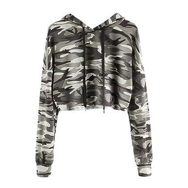 c94ab1dbfc952 Crop Hoodies Women, Womens Girls Casual Loose Long Sleeve Camouflage Hooded  Sweatshirts Pullover Hoodie Sports Jumper Pullover Blouse Tops Coats Ladies  Teen ...