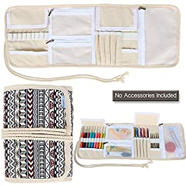 Teamoy Crochet Hook Case, Canvas Roll Bag Holder Organizer for Various Crochet Needles and Knitting Accessories, Compact and All-in-one, Bohemian