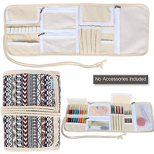 Teamoy Crochet Hook Case, Canvas Roll Bag Holder Organizer for Various Crochet Needles and Knitting Accessories, Compact and All-in-one. (Hook Organizer Crochet)