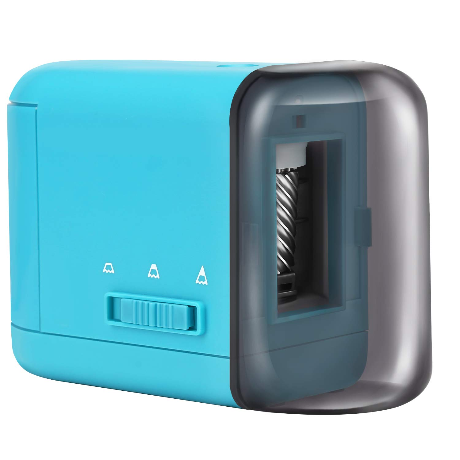 Color Pencil Sharpener-Battery Operated Electric Pencil Sharpener, Heavy Duty Helical Blade Sharpener for No.2 and Colored Pencils for Kids, Students, Adults, Artists, Blue