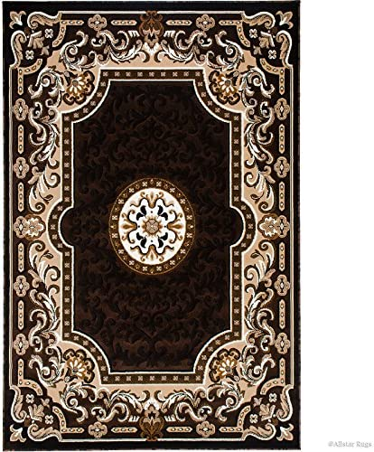 Allstar 8×10 Chocolate and Espresso Classic Floral French Country Machine Carved Effect Rectangular Accent Rug with Ivory and Mocha Bordered Medallion Design 7 9 x 10 1