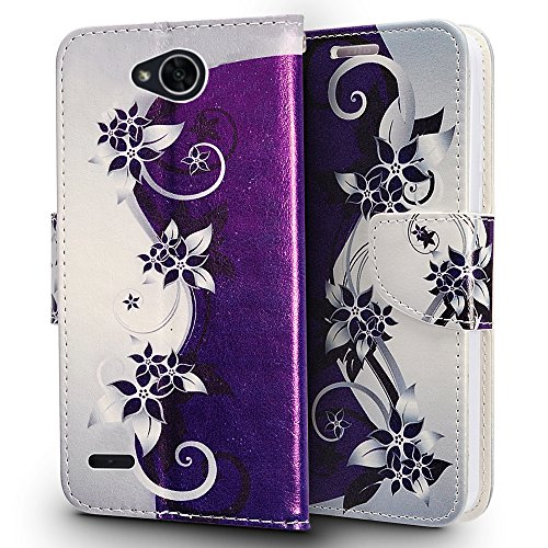 LG X Charge / LG X Power 2 / LG Fiesta LTE / LG K10 Power / LG LV7 Case, Luckiefind Premium PU Leather Flip Wallet Credit Card Cover Case, Stylus Pen, Screen Protector (Purple Vine)