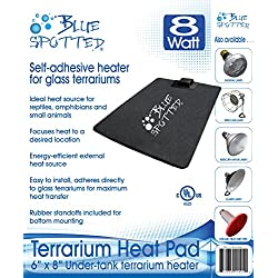 Blue Spotted Under Tank Heater, Terrarium Heat Pad, Size Small, for Reptiles, Amphibians, Hermit Crabs, and Small Animals - Use with Glass Terrariums - Size Small - 6 Inch x 8 Inch