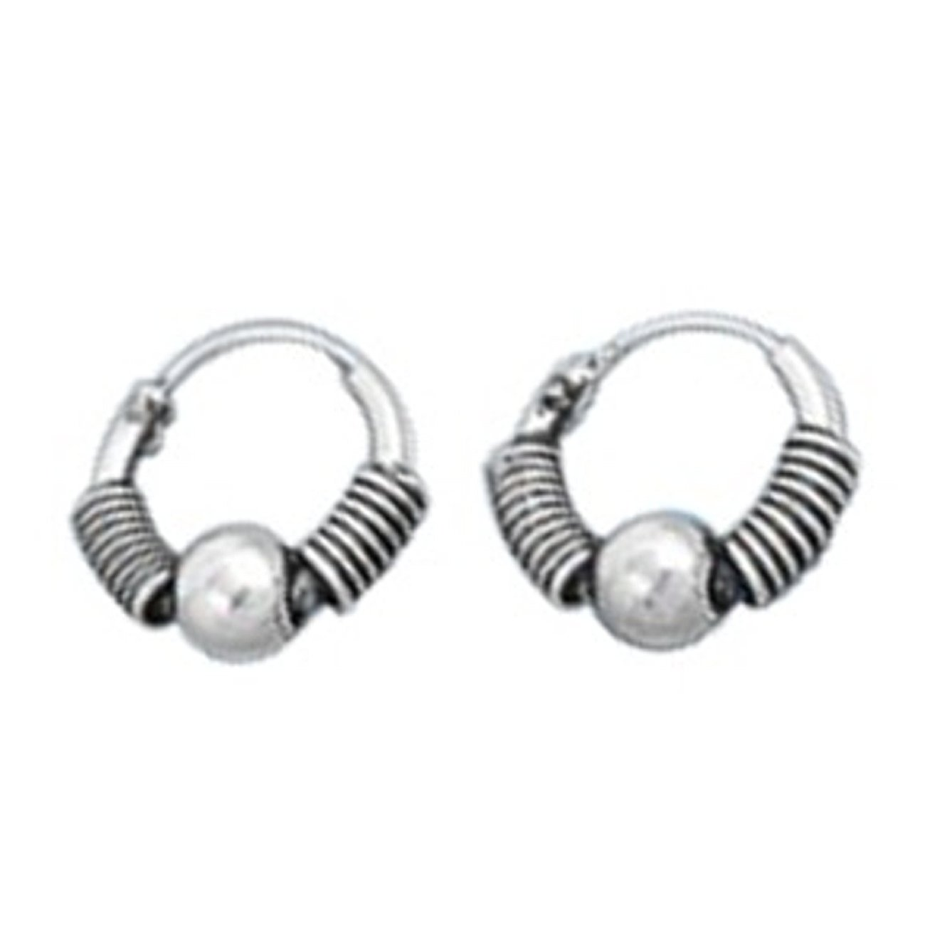 Sterling Silver 10mm 13//32 Tight Wrap Wire Ball Charm Tubular Endless Hoop Earrings