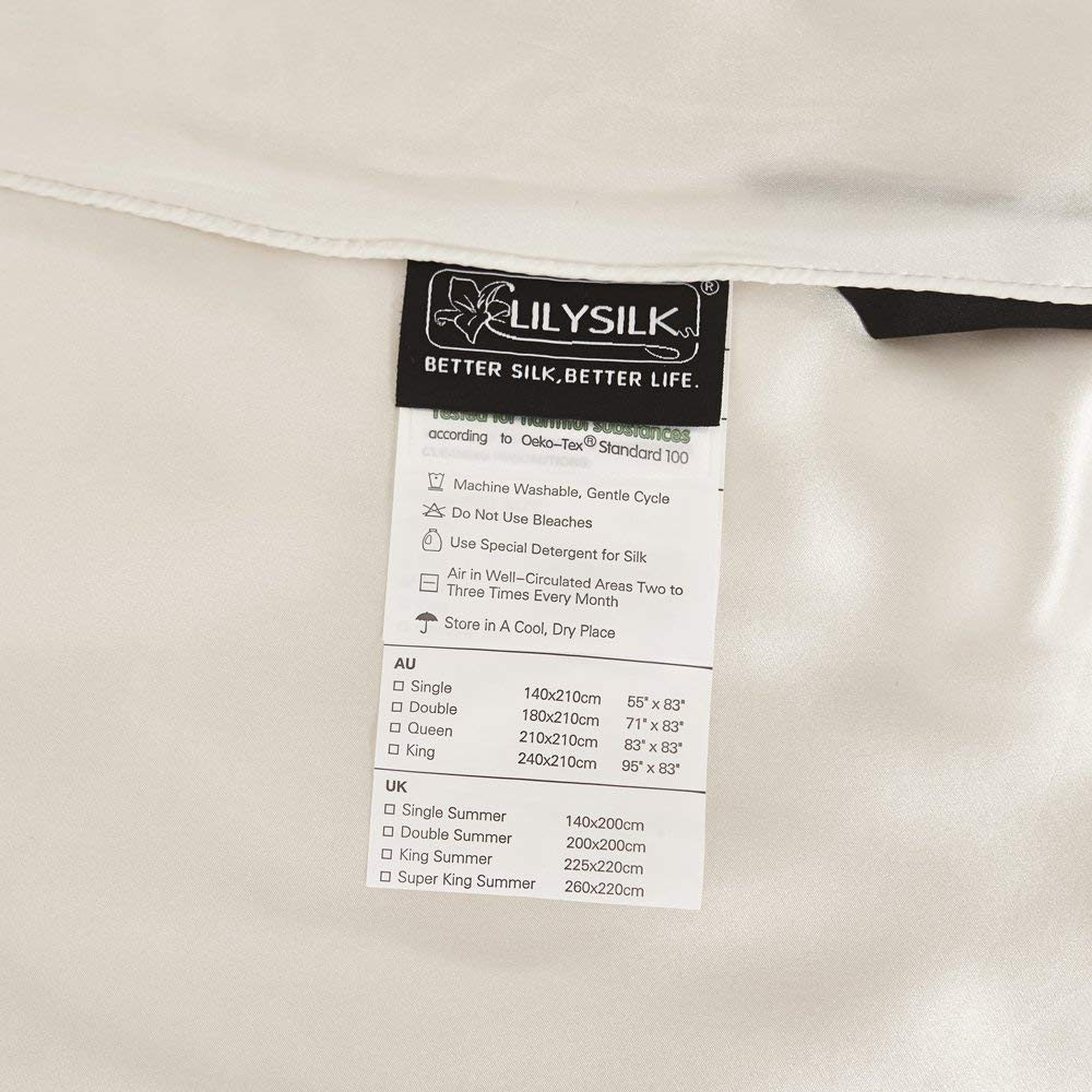 61x87, Ivory LILYSILK All Season Luxury Silk Duvet with Silk Shell 100/% Silk Comforter Oeko-Tex Quality Certified Silky and Breathable