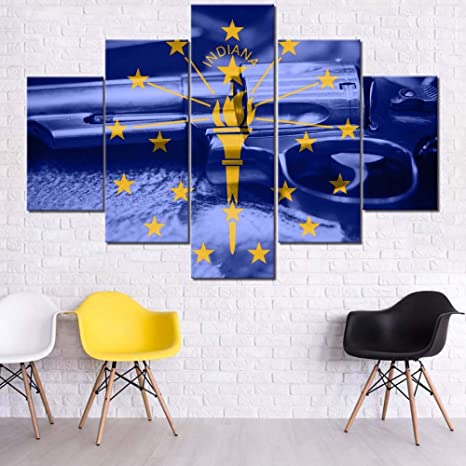 Decoraciones de pared azul marino 5 paneles pintados sobre ...