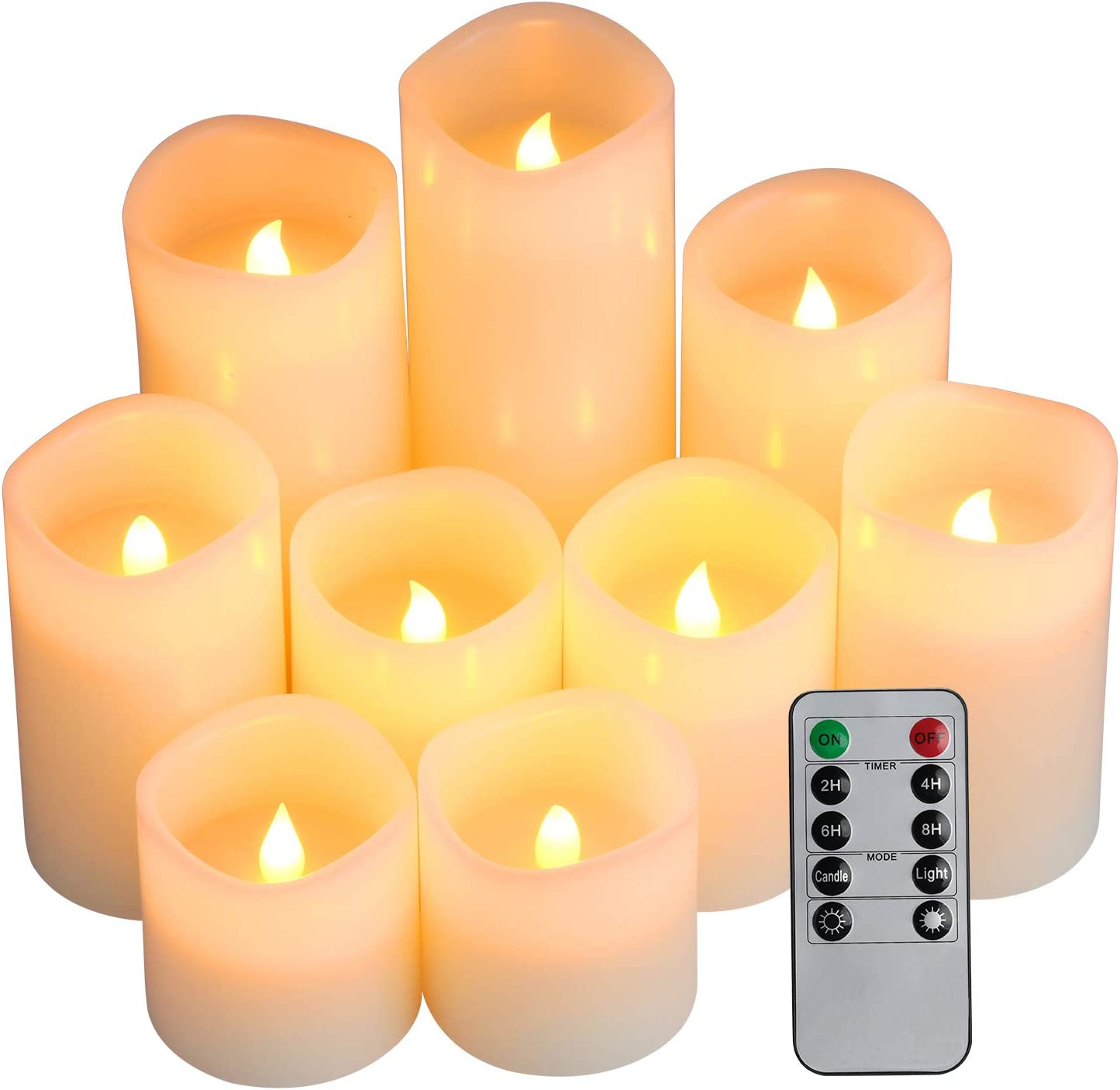 """9/"""" LED Wax Covered Candle w Holder Windowsill 6 Hour Timer Battery Operated NEW"""
