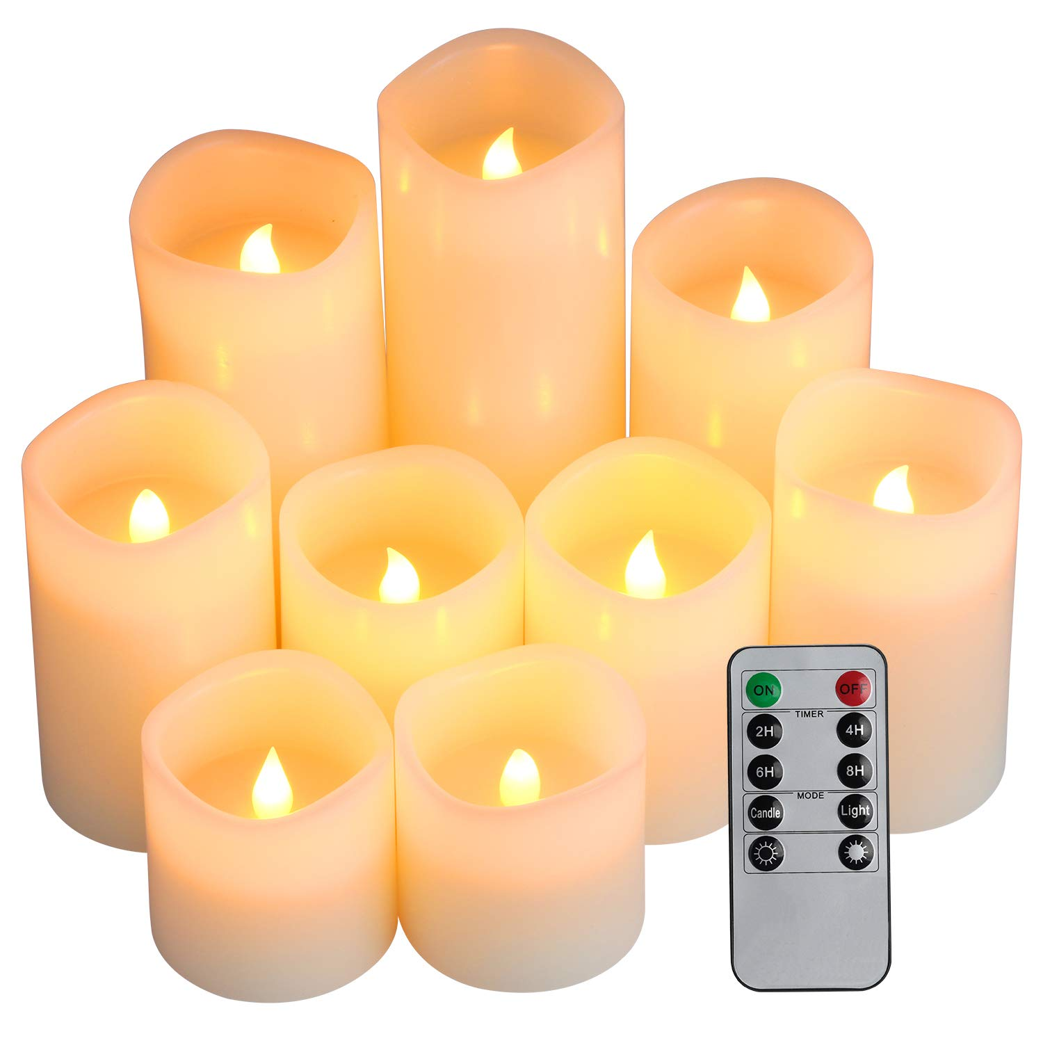 Flameless Candles, Battery Candles Set of 9(D3'' x H3''4''5''6''7''8'') Pillar LED Candles With Remote Timer by Comenzar (Ivory)(Batteries not included)