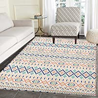 Geometric Area Rug Carpet Tribal Culture Primitive Native American Old Fashioned Lines and Squares Design Customize door mats for home Mat 3x5 Multicolor