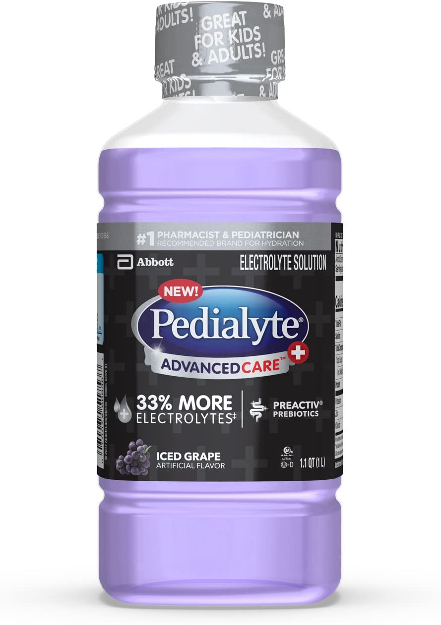 Pedialyte AdvancedCare+ Electrolyte Drink, 1 Liter, with 33% More Electrolytes and has PreActiv Prebiotics, Iced Grape
