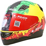 S.L LS2 Full Face Helmet FF-391 (Ink Matte Green Yellow Red-Large, 58cm)