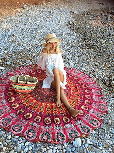 RawyalCrafts Indian Feather Mandala Round Roundie Beach Throw Tapestry Hippy Boho Gypsy Cotton Tablecloth Beach Towel, Red