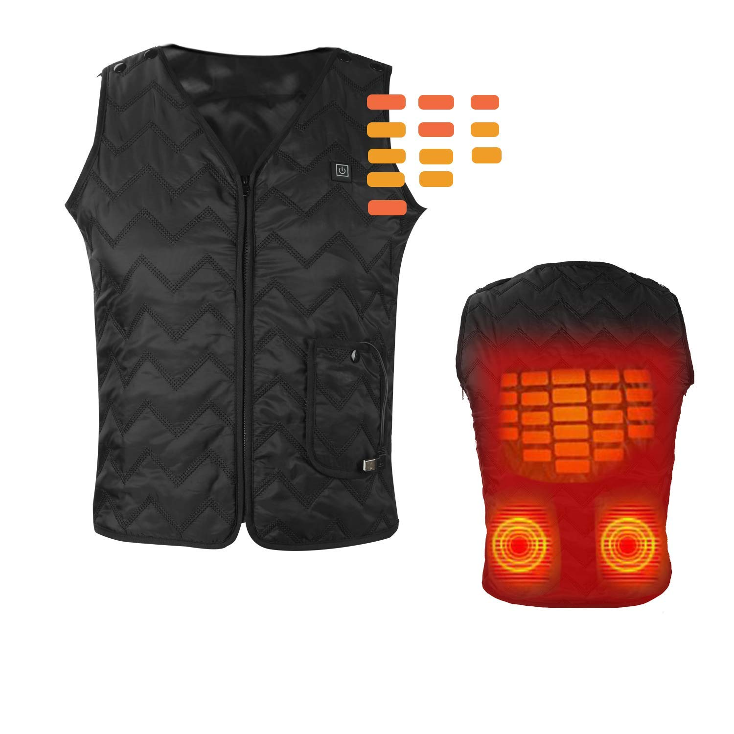 Heating Electric Vest Heated Jacket Cold-Proof Heating Clothes Washable Four Sizes Adjustment (Battery Not Included) Black by YZFDBSX