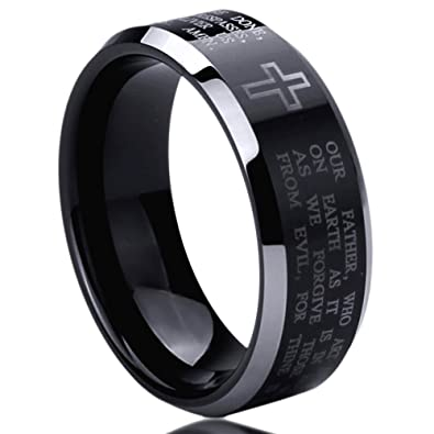 8mm titanium mens womens rings lords prayer with cross praying comfort fit black wedding bands sz - Mens Black Wedding Rings