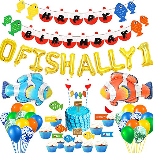 HEETON O Fish Ally One Balloons, Gone Fishing First Birthday Party Banner, Little Fisherman the Big One Fishing 1st Birthday Party Supplies Decoration