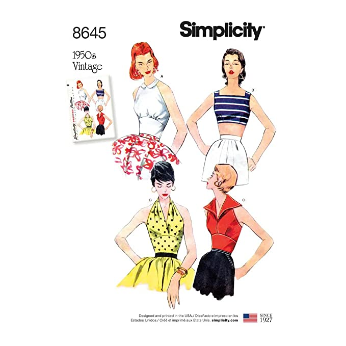 1950s Sewing Patterns | Dresses, Skirts, Tops, Mens Simplicity Vintage US8645D5 Tops Vest JKTS Coats D5 (4-6-8-10-12) $12.04 AT vintagedancer.com