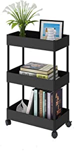 DCIGNA 3- Tie Slim Storage Cart with Wheels, Rolling Organizer Cart with Shelves, Slide Out Storage cart Laundry, Mobile Shelving Unit Organizer for Kitchen, Bathroom, Bedroom, Office (Black)