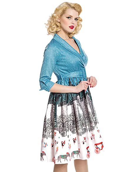 Lindy Bop Vivi Blue Central Park Winter Print Swing Dress - 26: Amazon.co.uk: Clothing