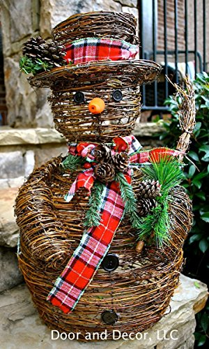 Pinecone Snowman - Large vine snowman~Christmas snowman~rustic snowman with pine cones~grapevine