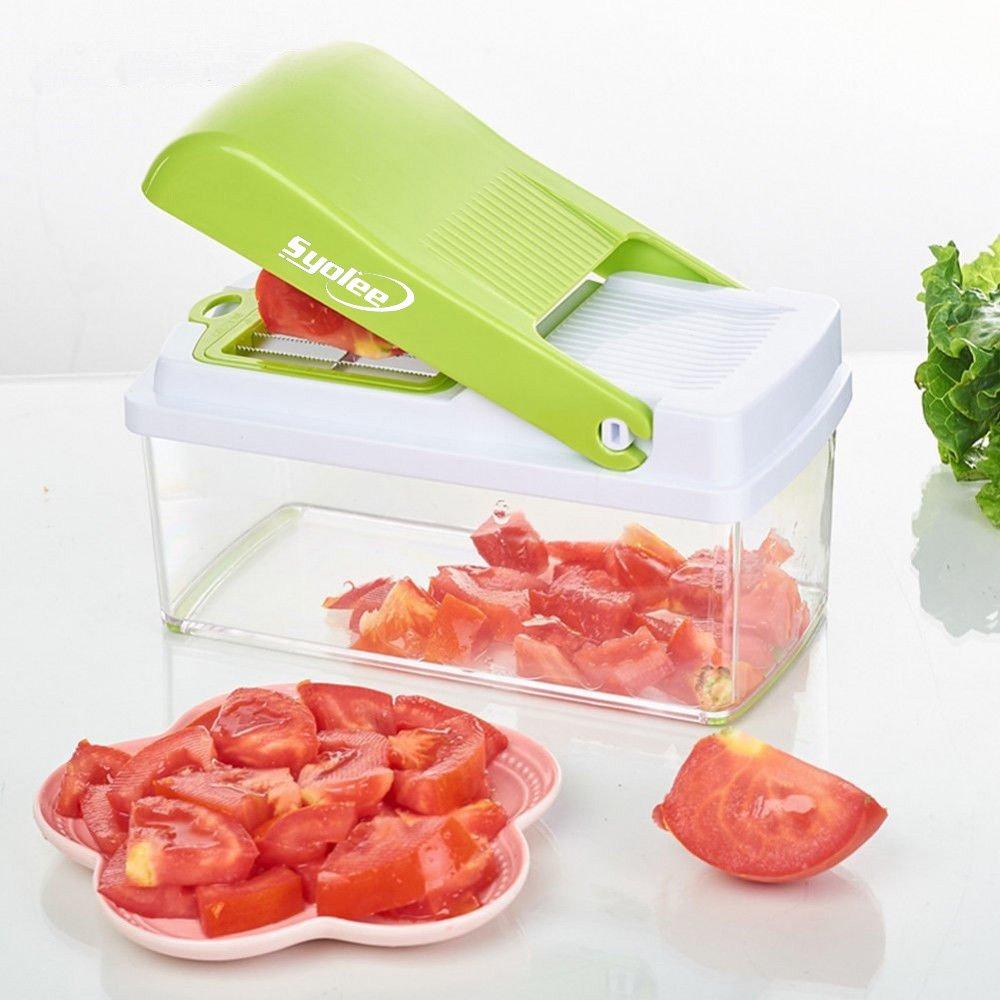 Cortador de verduras y frutas con 3 cuchillas intercambiables, de Syolee, con recipiente de alimentos, cepillo de limpieza, perfecto para ensalada, patata, ...