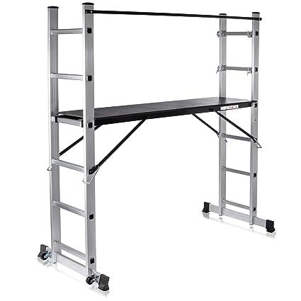 MAXCRAFT Plataforma de Trabajo Multipropósito Escalerilla Escalera Combinación de Aluminio y Andamio con Ruedas Peldaños Escala