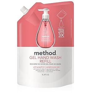 Method Gel Hand Soap Refill, Pink Grapefruit, 34 Ounce