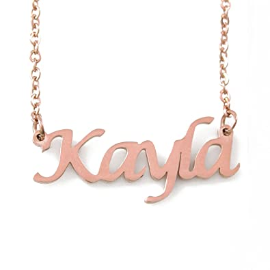 c199b4581cc17 Amazon.com: Kayla Name Necklace - 18ct Rose Gold Plated: Jewelry