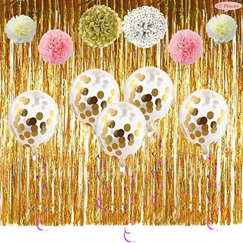 Party Supplies Decoration Kit- Fringe Curtain Foil Swirl Confetti Balloon Pom Poms Flower Decor for 1st Bday Girl Bridal Shower, Decorate for Princess/ Anniversary/ Nursery/ Festive Theme(Pink & - Fringe Confetti