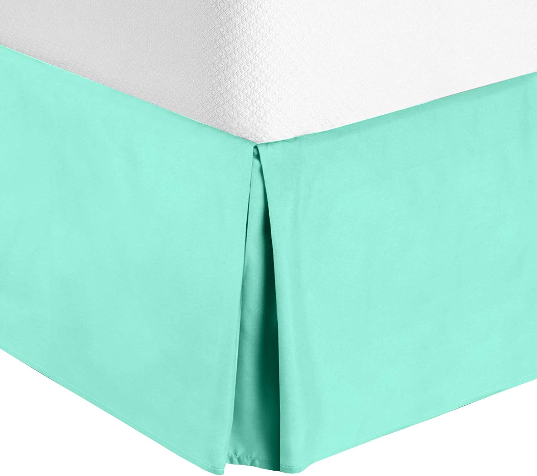 "Nestl Bedding Pleated Bed Skirt - Luxury Microfiber Dust Ruffle - Sleek Modern Bed Skirt - 14"" Tailored Drop, Twin, Mint"
