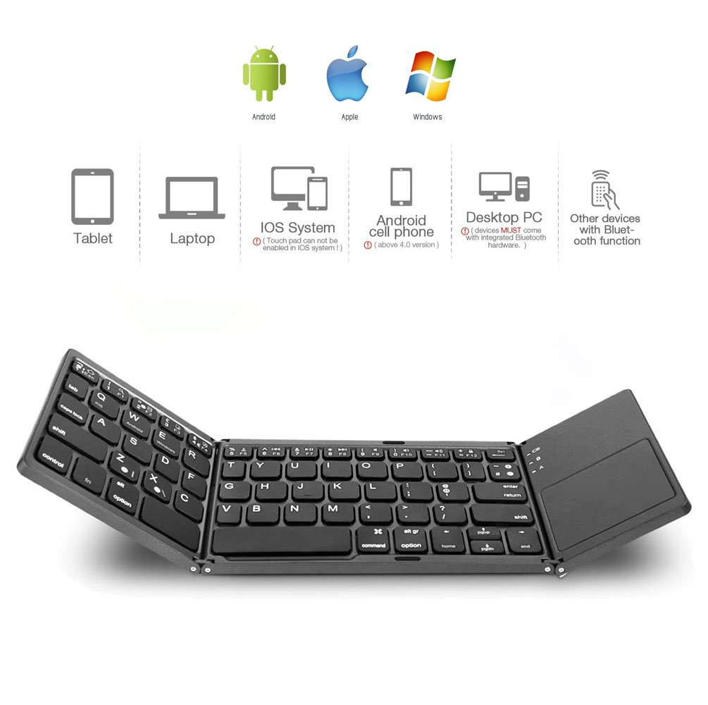Amazon.com: Folding Keyboard/Foldabe Keyboard Android iOS Windows Phone Bluetooth Wireless Keyboard with Touchpad for Cell Phone/Laptop/Tablet Samsung Asus ...