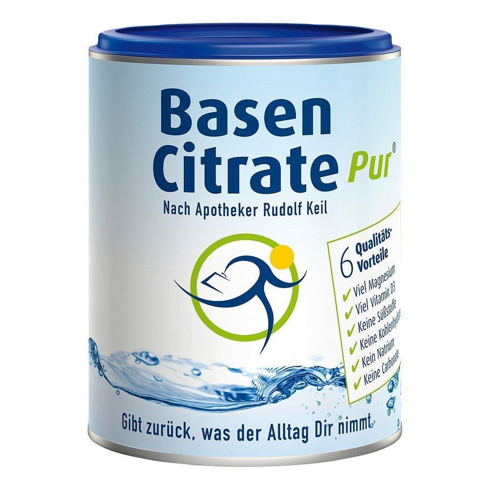 MADENA BasenCitrate Pur | Basenpulver 216g Dose | Das Original mit 100% organischen Basen VEGAN | Viel Magnesium als Citrat, Zink, Kalium, Calcium Diät - Basenfasten Vitamin D3 aus Flechten product image