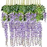 Artiflr 8pcs Artificial Flowers Silk Wisteria Vine