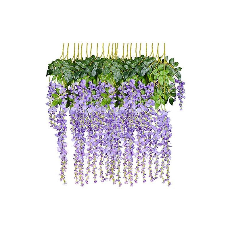 silk flower arrangements 12 pack 1 piece 3.6 feet artificial fake wisteria vine ratta hanging garland silk flowers string home party wedding decor (purple 2)