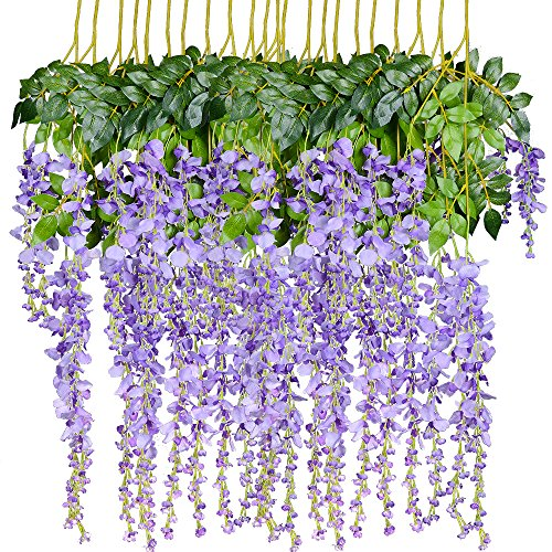 Artiflr 8pcs Artificial Flowers Silk Wisteria Vine Ratta Silk Hanging Flower Wedding Decor (Purple)