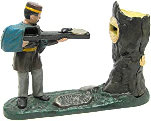 Design Toscano SP1247Creedmoor Rifle Range Hunter Collectors' Die Cast Iron Mechanical Coin Bank,full color
