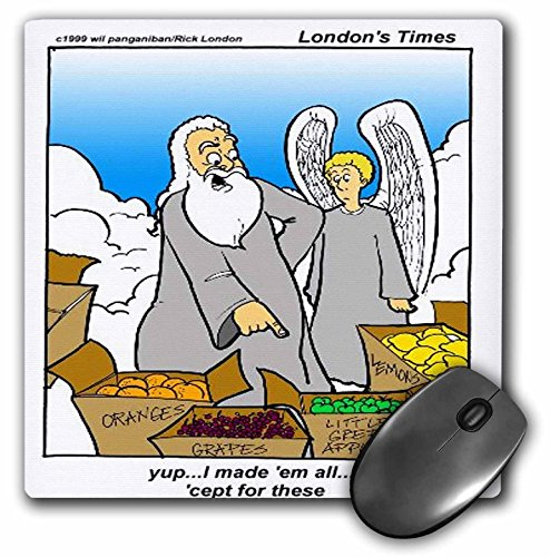 3dRose Londons Times Religion Heaven Hell Cartoons - God Didn t Make Little Green Apples - MousePad (mp_1874_1)