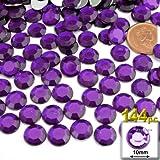 The Crafts Outlet 144-Piece Round Rhinestones, 10mm, Purple Amethyst