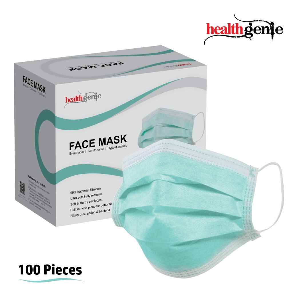 Healthgenie Elastic - 100 3-ply green Face Mask Pieces Disposable