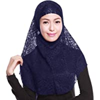 Womens Lace Muslim Inner Hijab Headscarf Cap Islamic Full Cover Islamic Hat